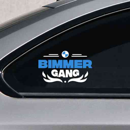 Dope Bimmer Gang contour cut sticker. Made of premium white and blue ORACAL vinyls. Sticker has a bmw logo, lettering and some flames.