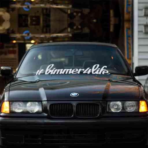 Bimmer For Life car windshield banner. Great for project or show BMW cars. Available in different colors. Banner comes with installation instructions.