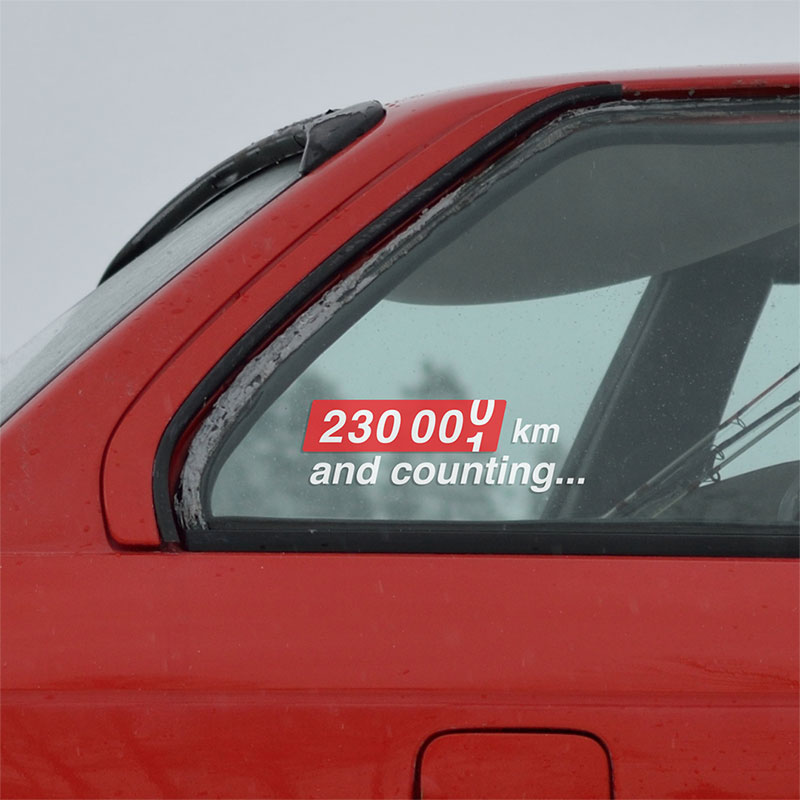 Sticker with your car odometer mileage value