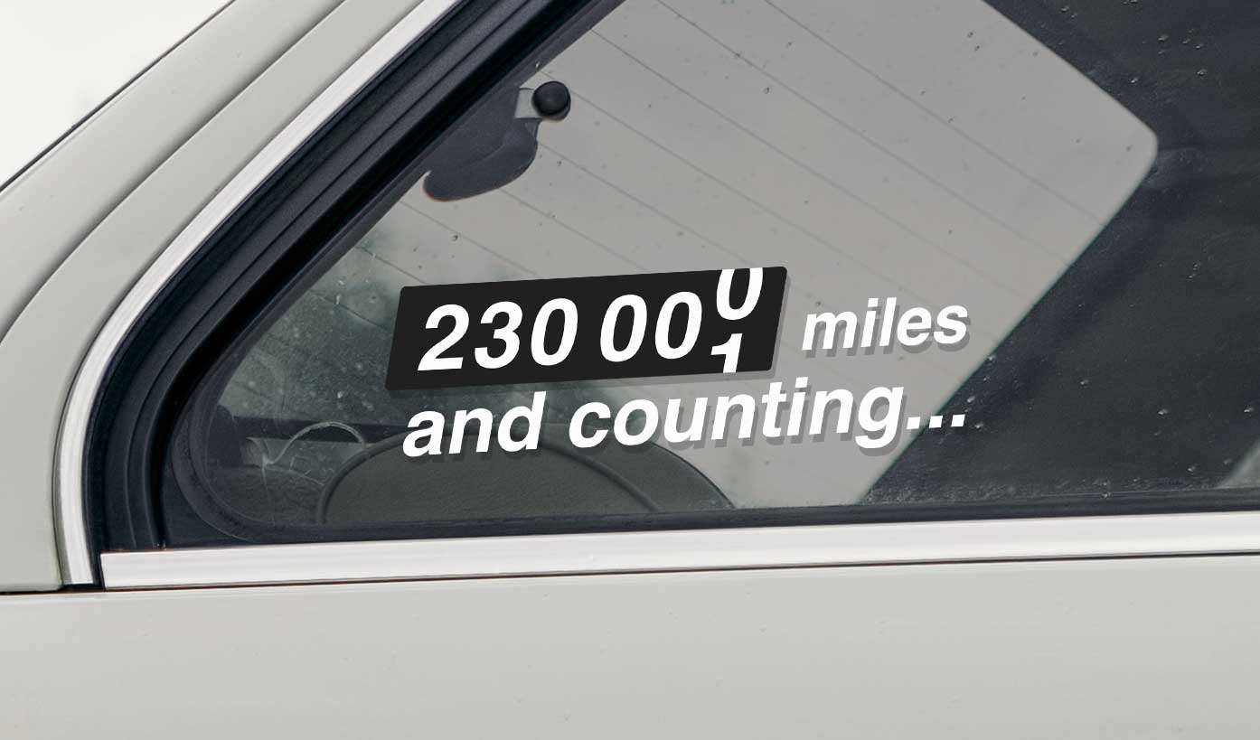 Vinyl car sticker with your mileage