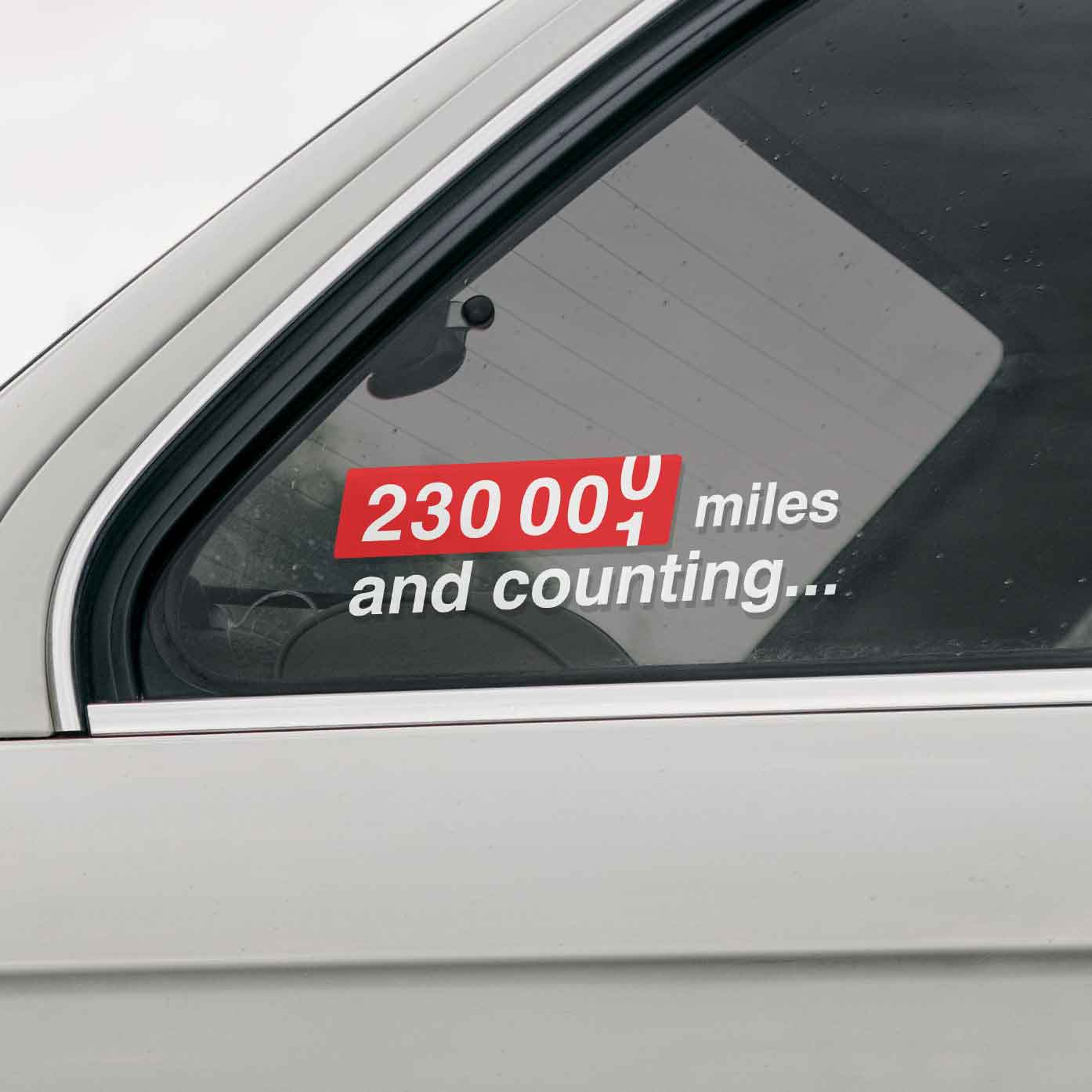 Custom mileage car sticker. For well-kept cars with impressive mileage that are in good hands.