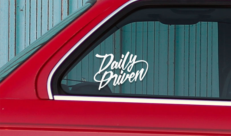 Vinyl car window sticker daily driven