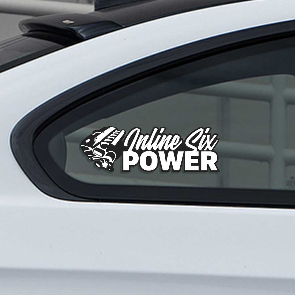 Sticker for cars with inline six cylinder engine displacement.