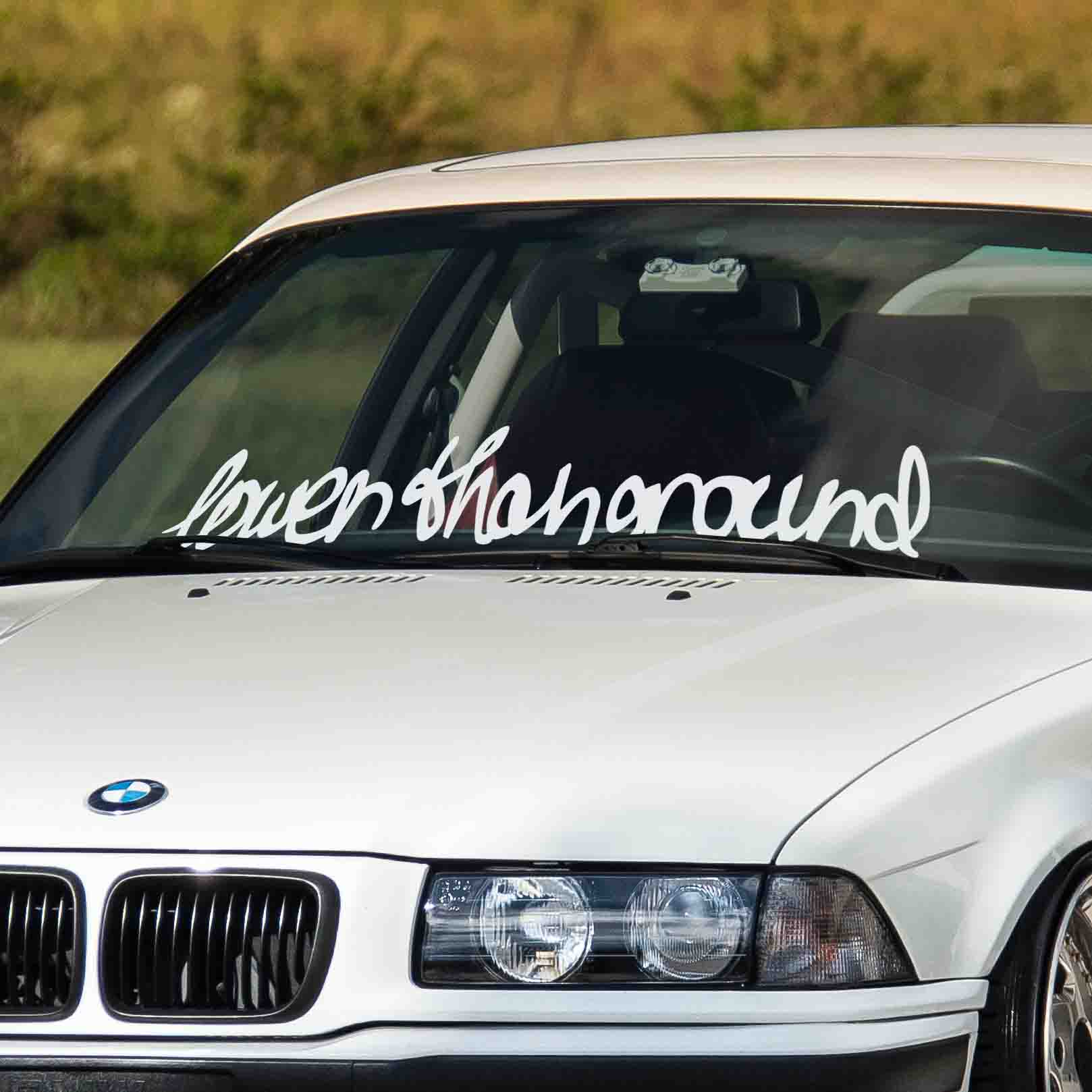 Lower Than Ground car windshield banner. Great for tuned cars or show cars. Available in different colors. Banner comes with installation instructions.