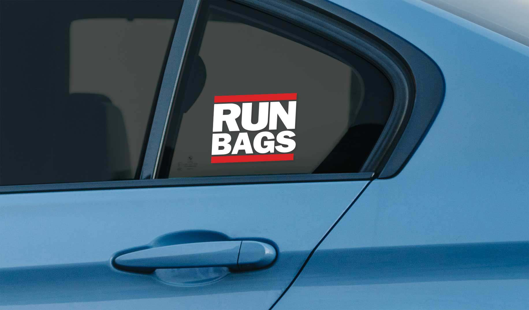 Run Bags window vinyl sticker for stanced lowered cars on air suspension