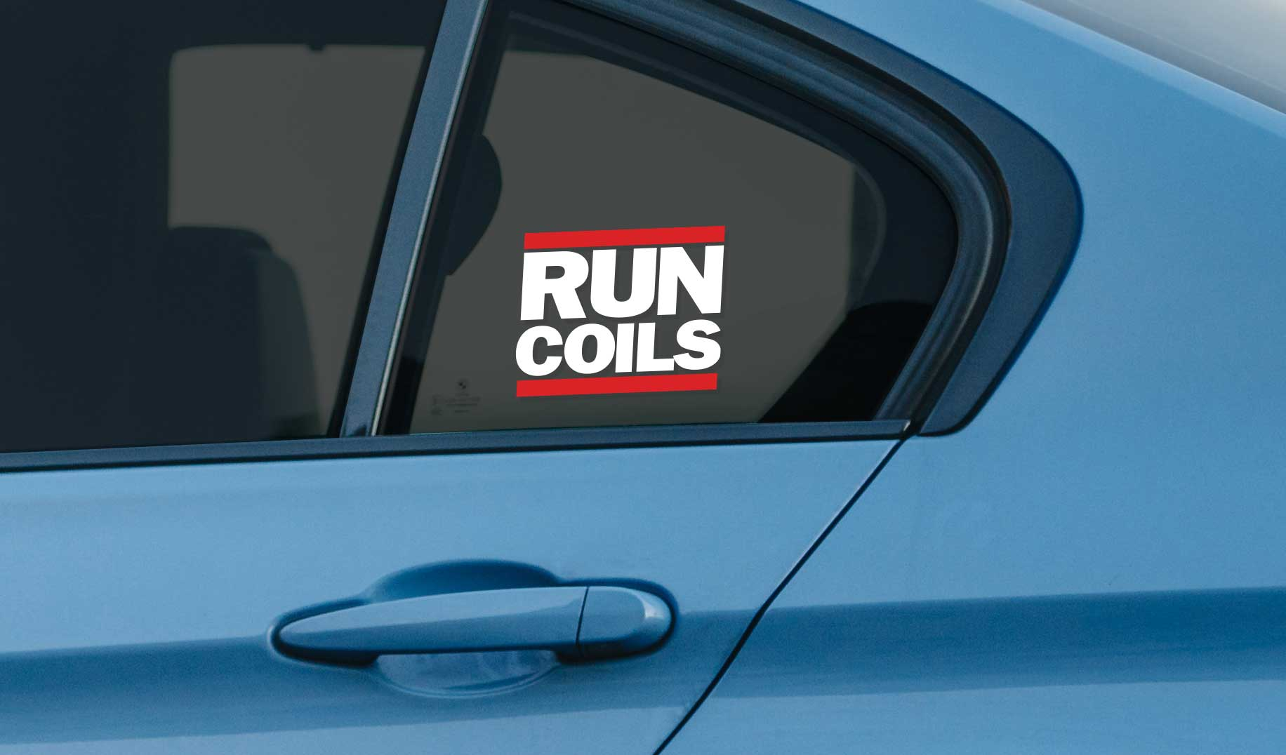 Run Coils window vinyl sticker for stanced lowered cars