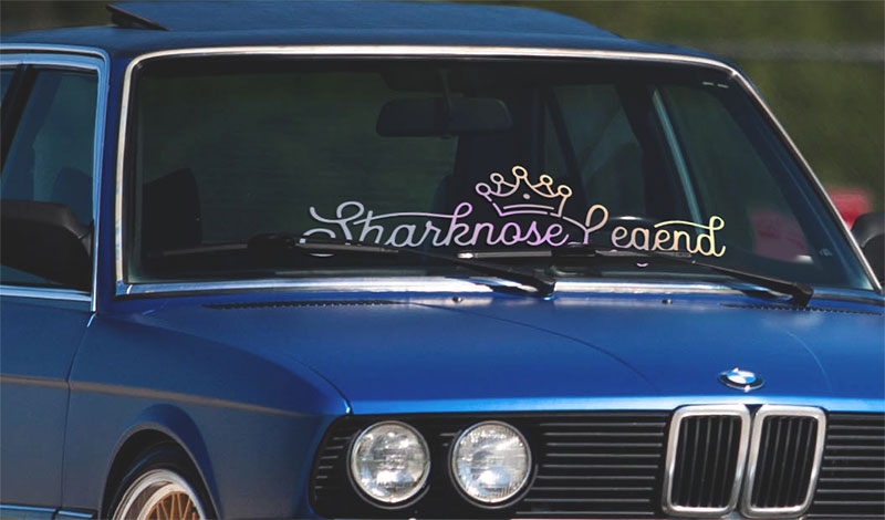 Sharknose Legend classic BMW window banner with crown