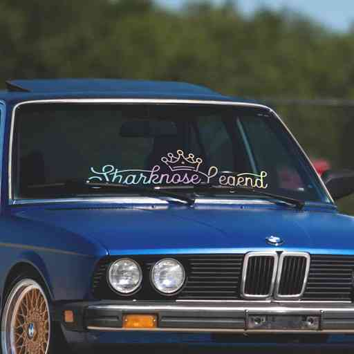 Sharknose Legend car windshield banner. Great for and oldschool BMW project like e28 or e30. Available in different colors. Banner comes with installation instructions.