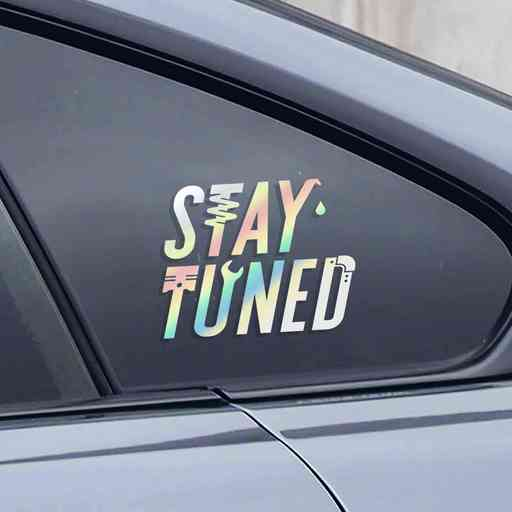 Stay Tuned sticker for modified cars and trucks. Sticker has a neat lettering themed with different car parts icons.