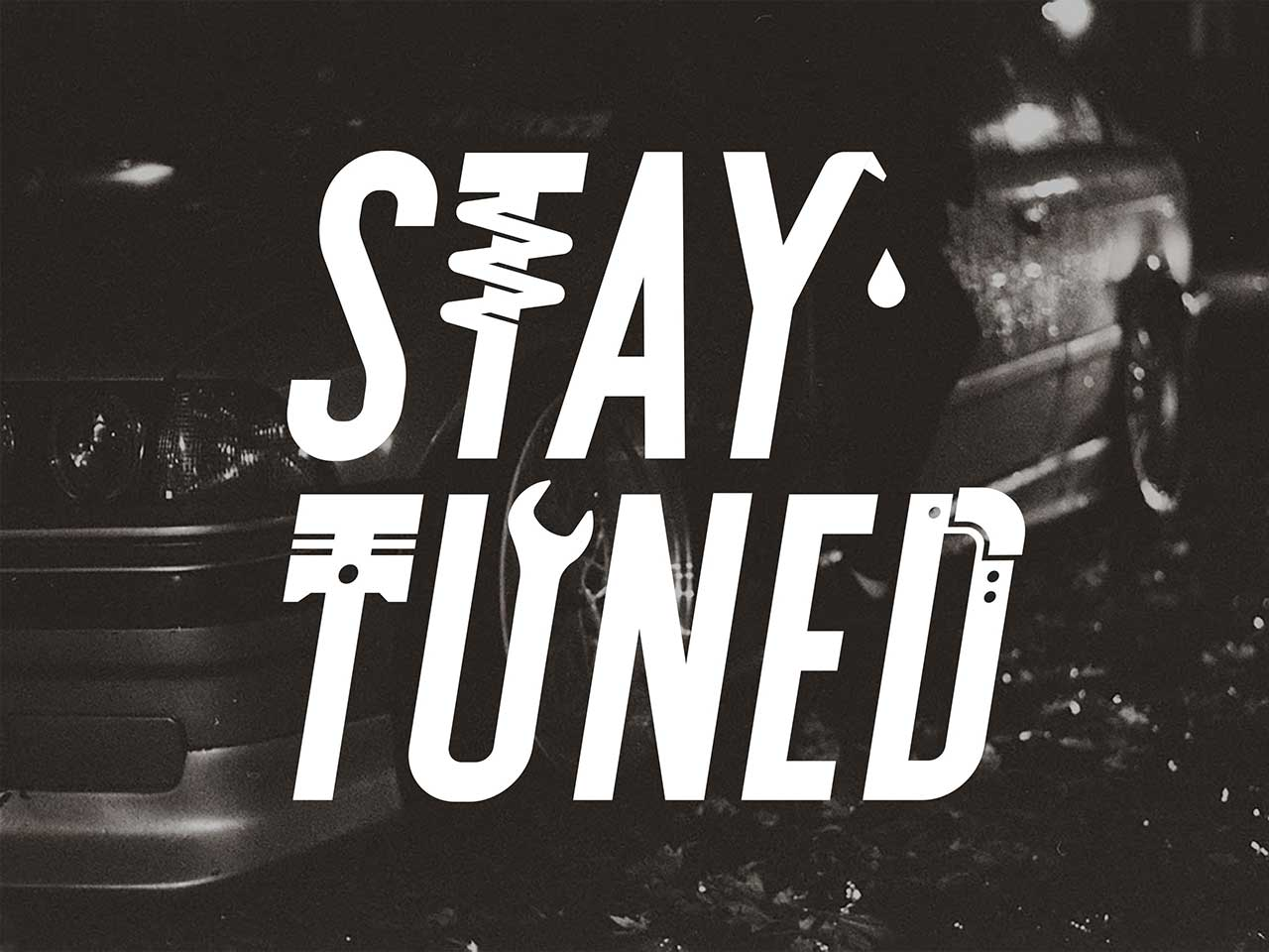Stay tuned sticker decal available in glossy white and holographic colors