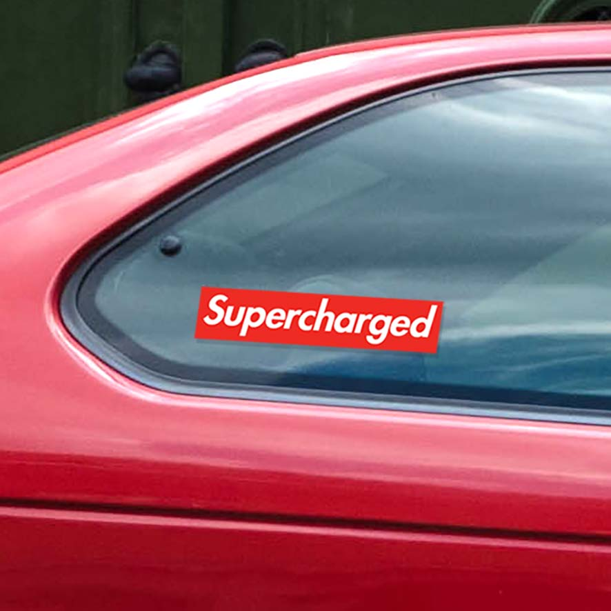 Sticker for supercharged vehicles. Designed to look like a famous skateboarding company. Die-cut of two vinyl sheets. Never fades out.
