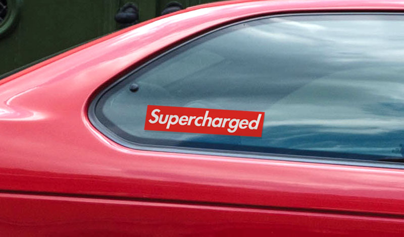 Vinyl Supercharged window sticker for any car model