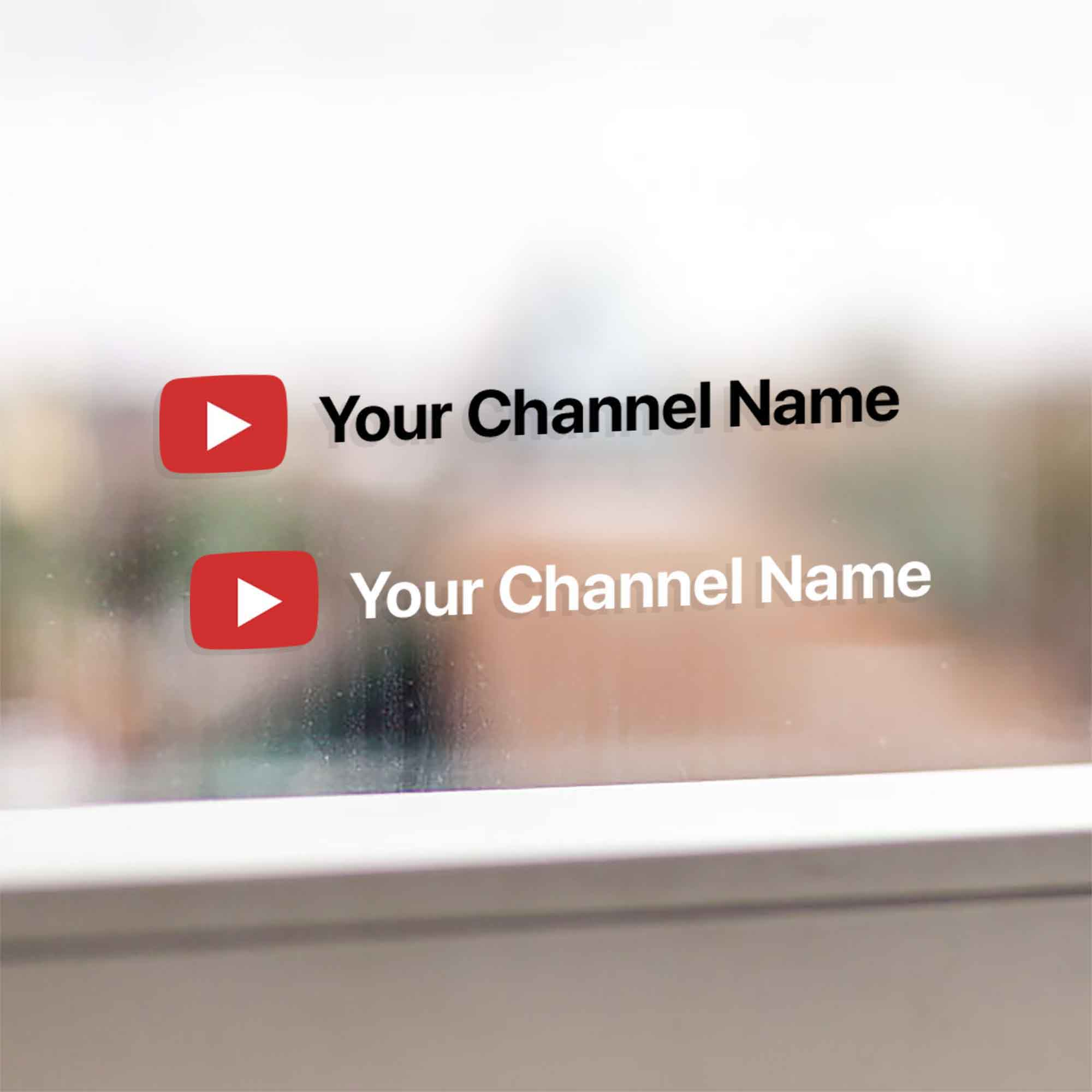 A set of two custom stickers with your YouTube channel name. Stickers are contour cut out of premium outdoor vinyls. Transparent background. Available in white and black colors. Stickers come with installation instructions.